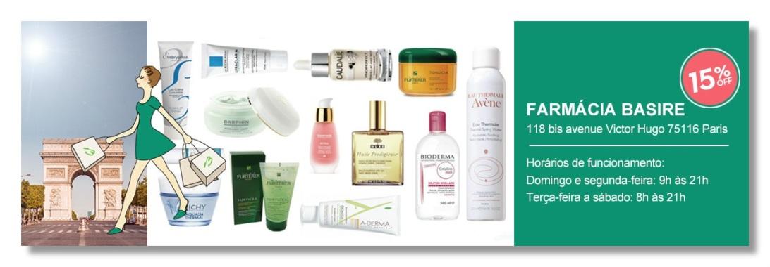 Farmácia Basire em Paris: preços baixos em cosméticos e dermocosméticos de luxo.